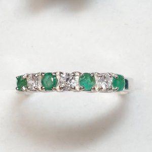 Silver CZ Emerald Ring